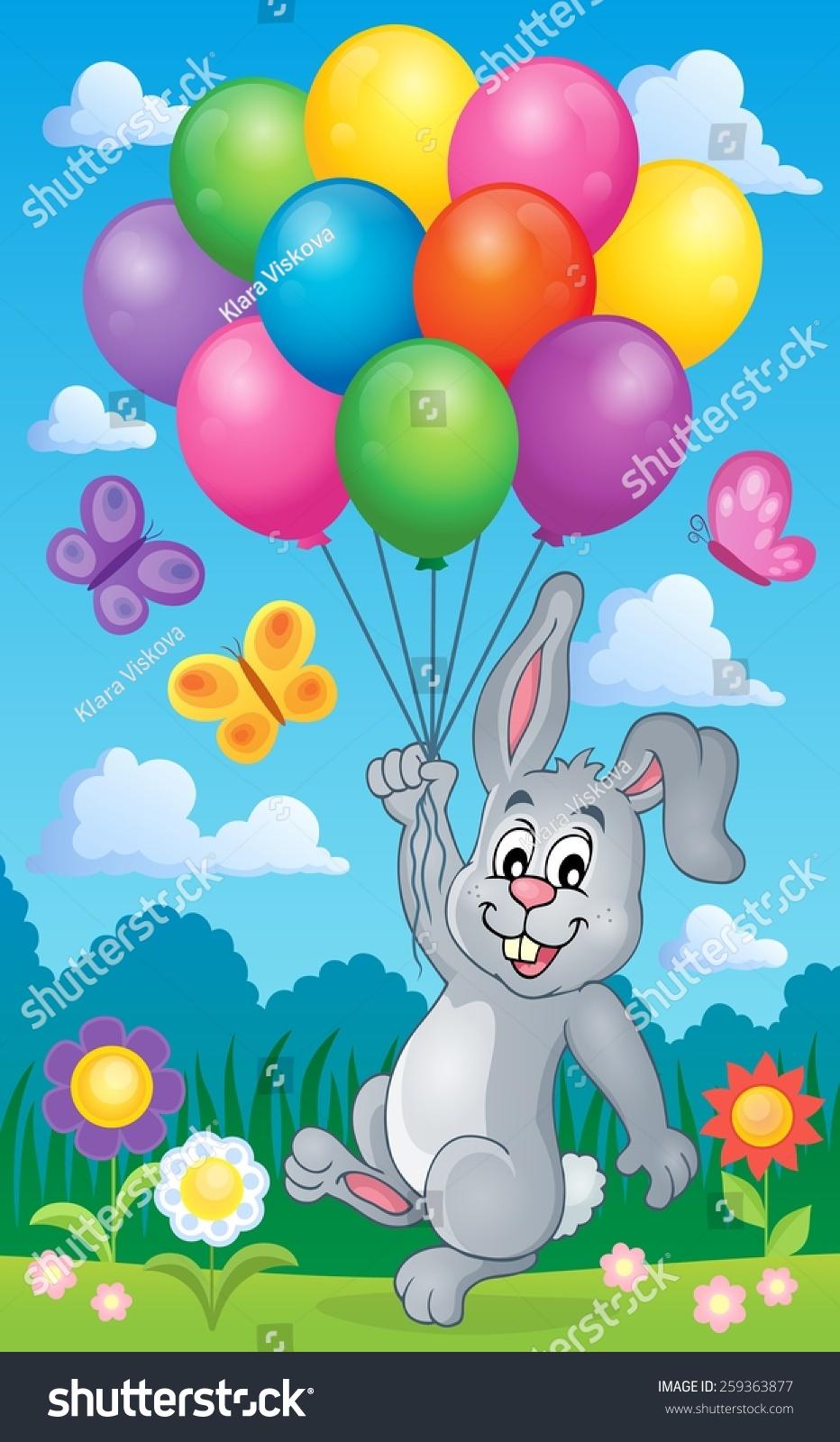 兔子有气球主题图像2 - eps10矢量插图.-动物/野生-()图片