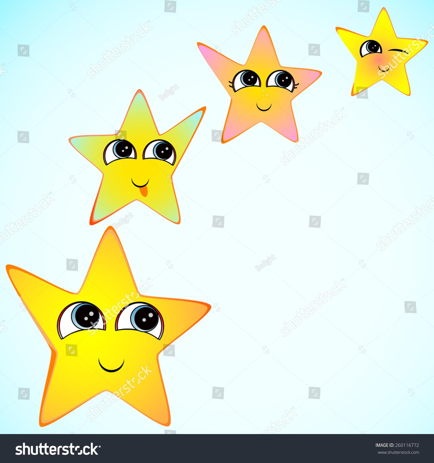 愉快的微笑的星星在蓝色背景-物体,符号/标志-海洛()