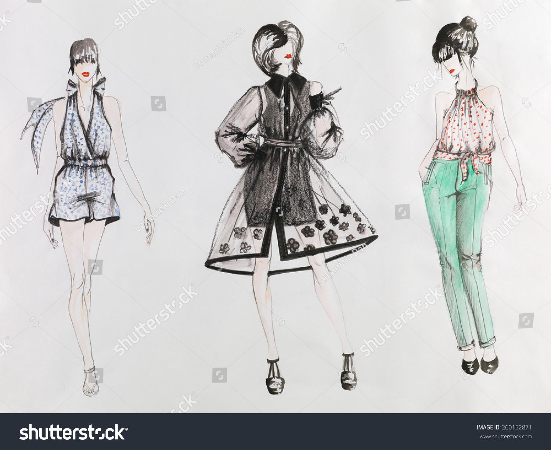 手绘时装草图.女性在彩色礼服