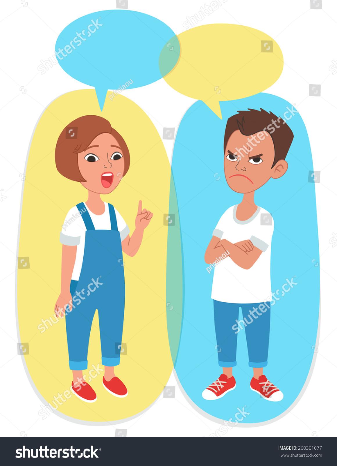 卡通风格的儿童肖像与语音气泡与文本的空白