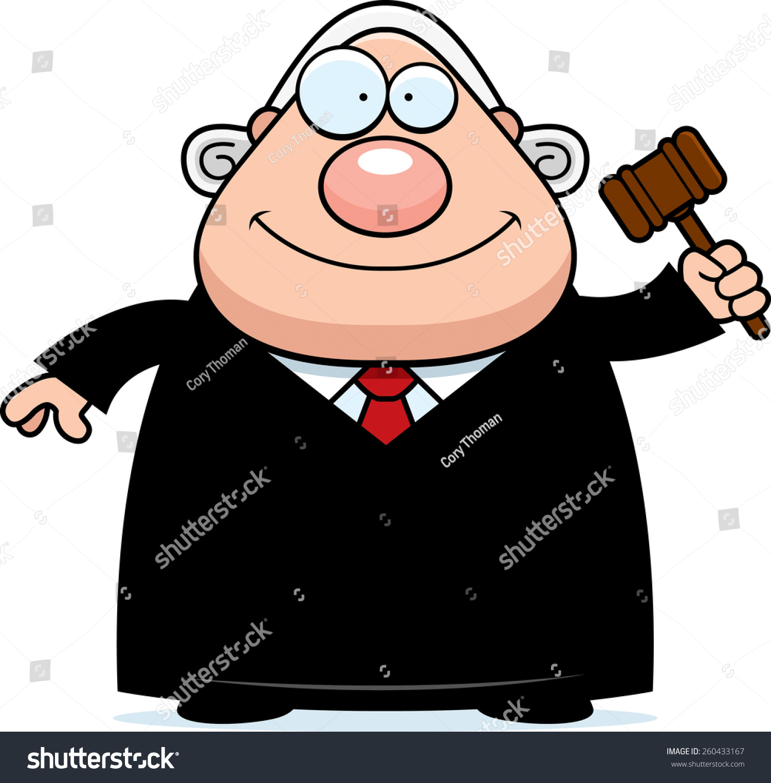 的卡通插图法官拿着的小木槌.-人物-海洛创意(hellorf