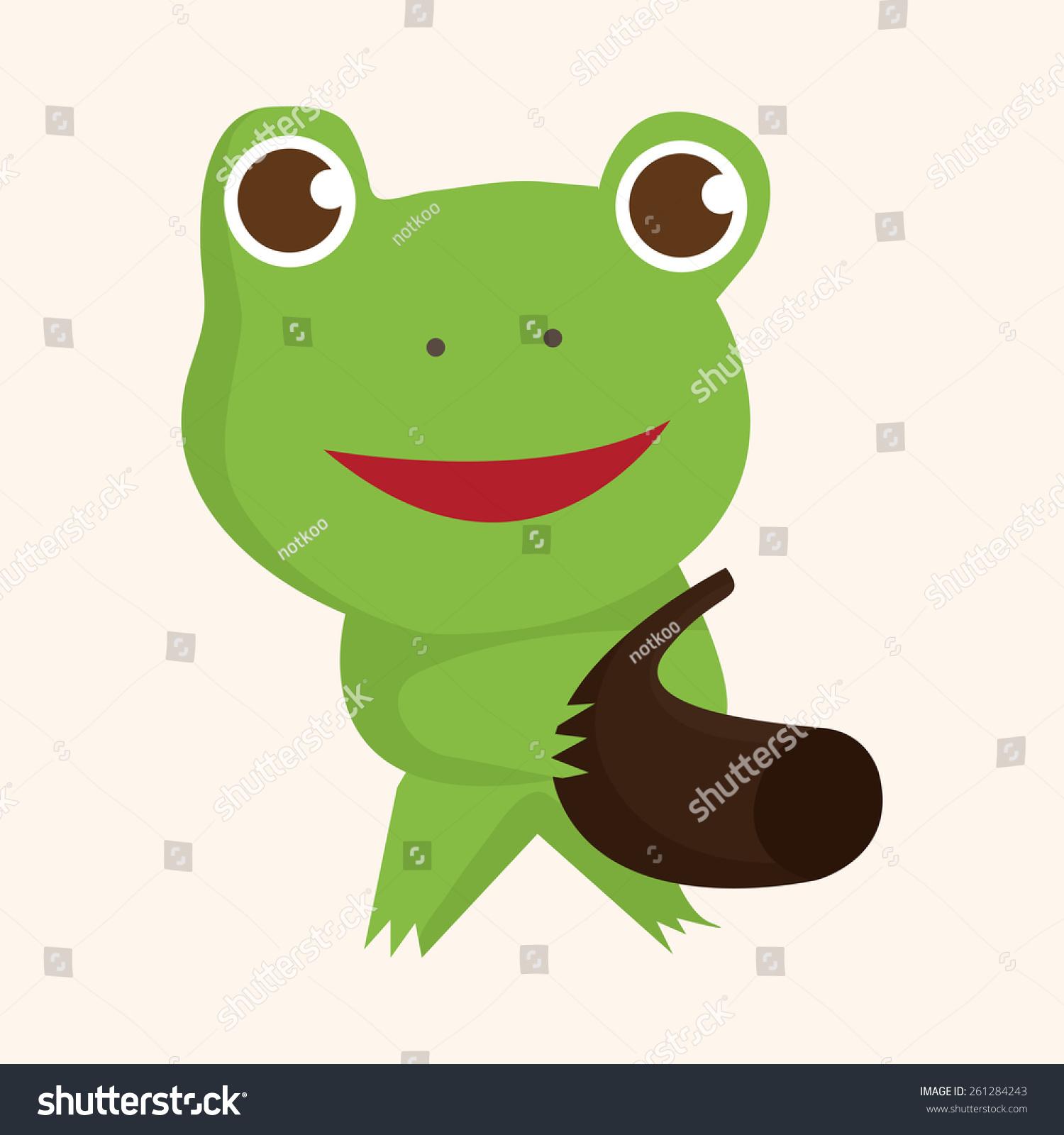 动物青蛙玩乐器卡通主题元素-物体