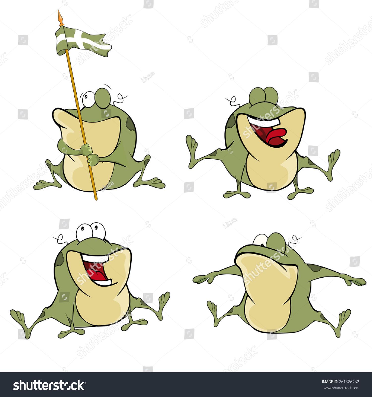 一套可爱卡通绿色青蛙的矢量图-动物/野生生物-海洛