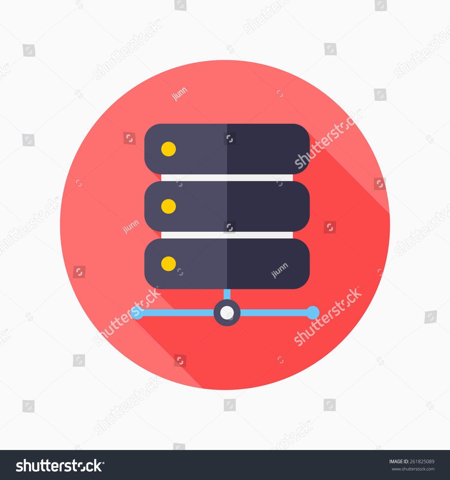 数据库平图标与长长的阴影在蓝色圈背景,向量插图,eps图片