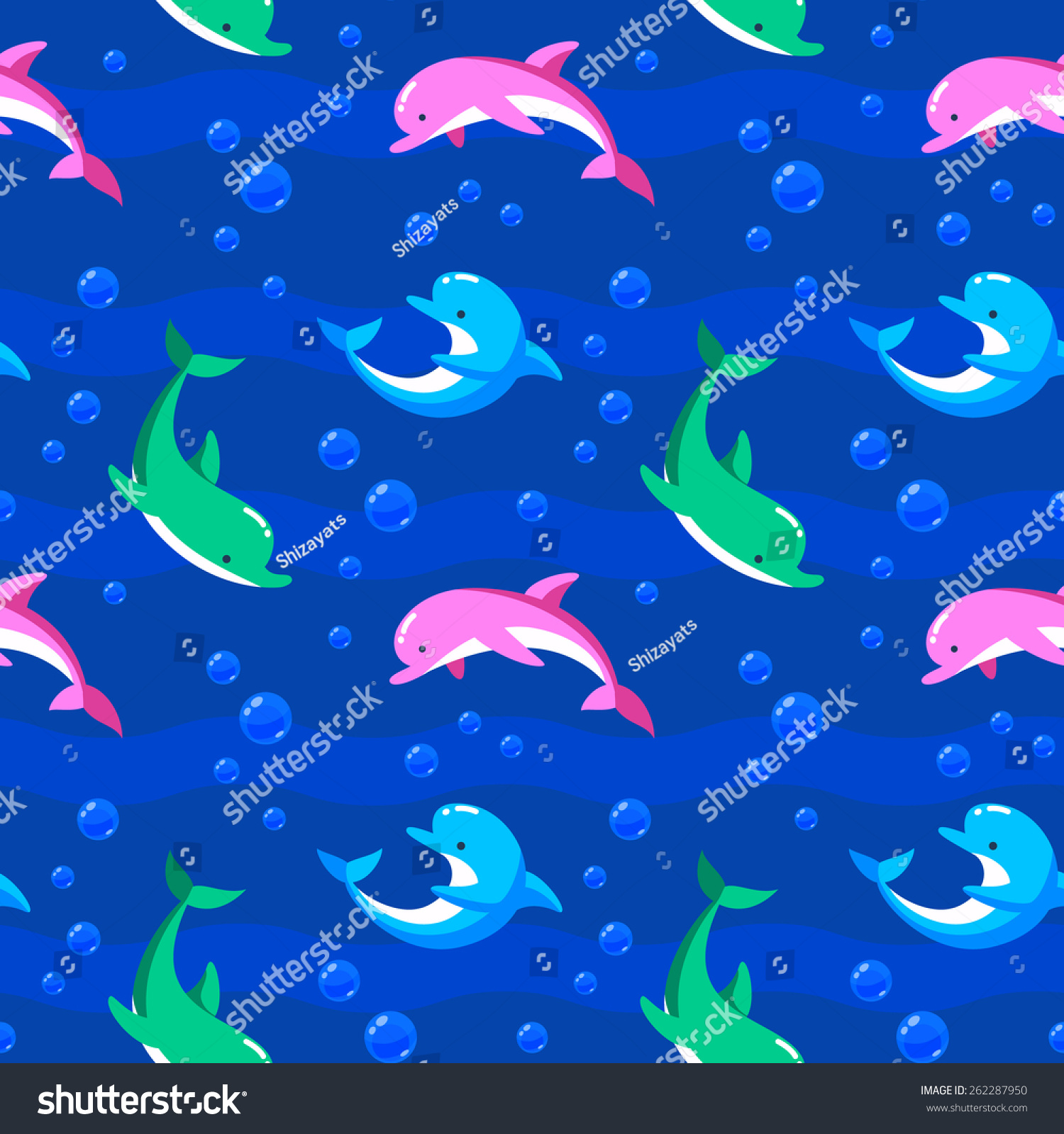 色彩斑斓的海豚在海浪和泡沫.向量无缝模式.