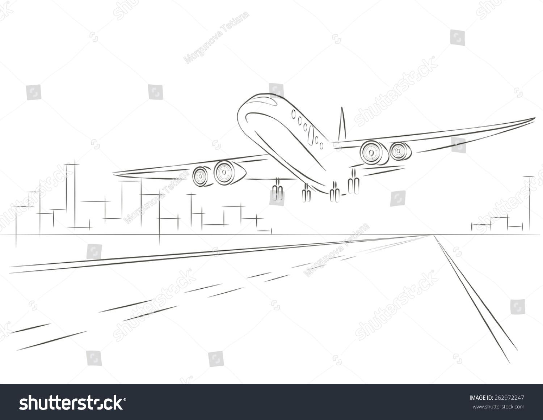 线性素描飞机起飞-交通运输