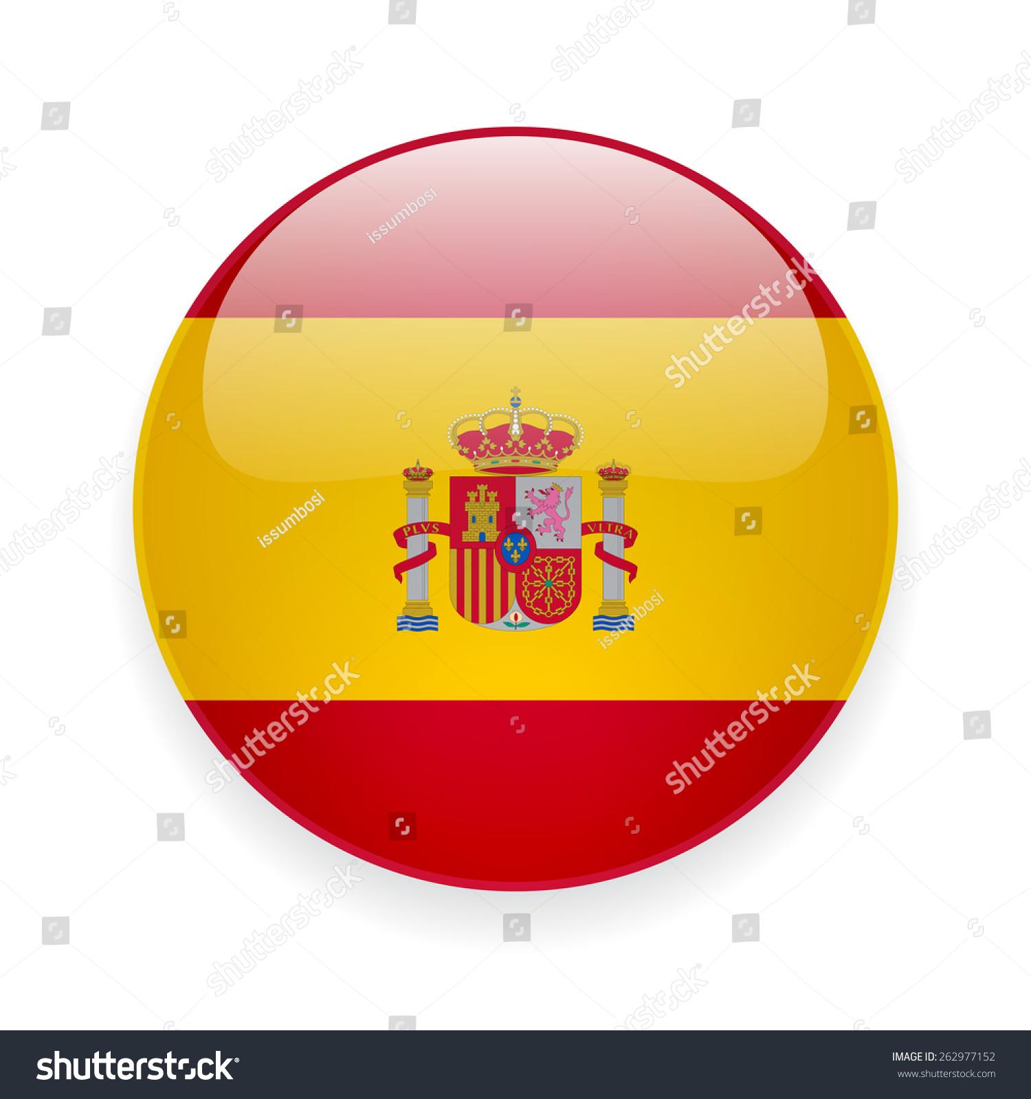 西班牙国旗的圆形平滑矢量图标,白色背景-符号/标志