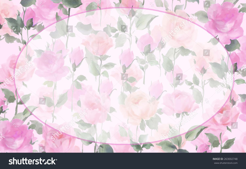水彩花卉无缝模式与椭圆复制帧-背景/素材,美容/时装