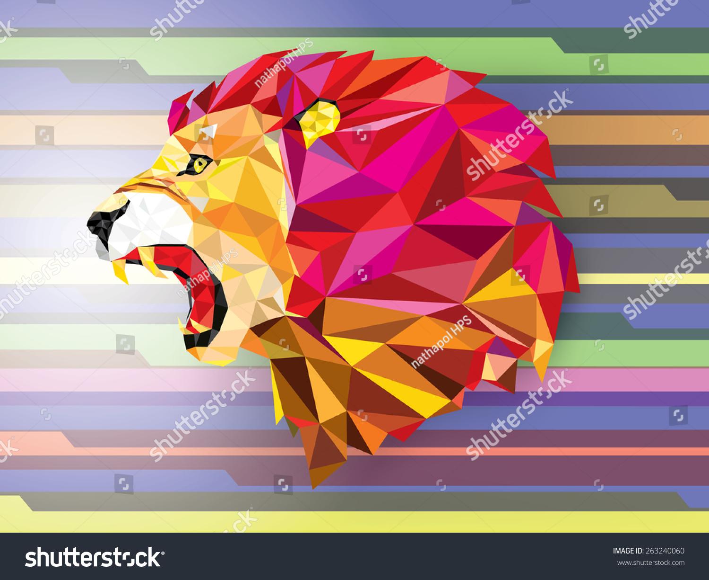 低多边形llion几何图案抽象的背景——矢量插图-动物