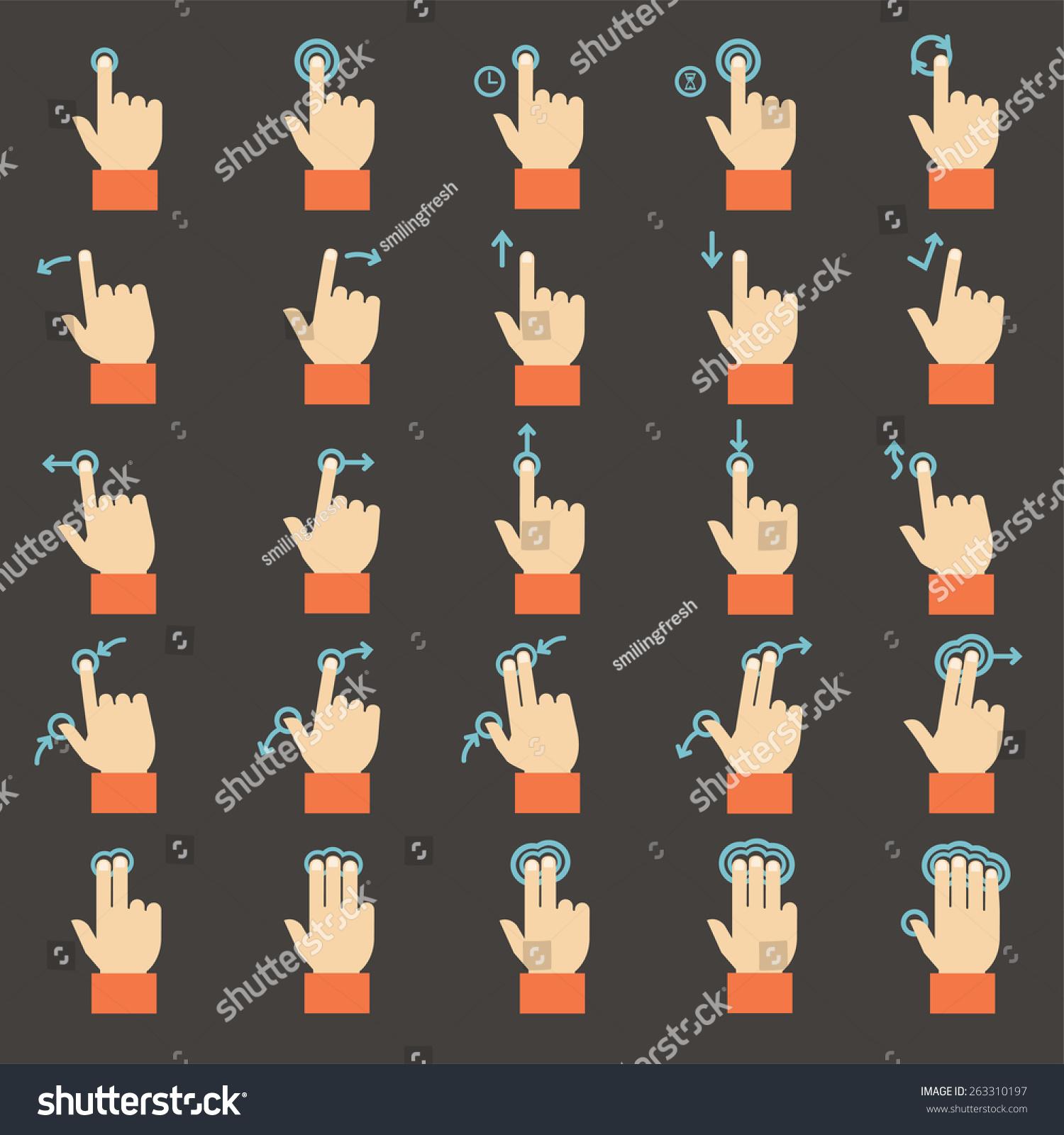 触控手势图标集,平面设计