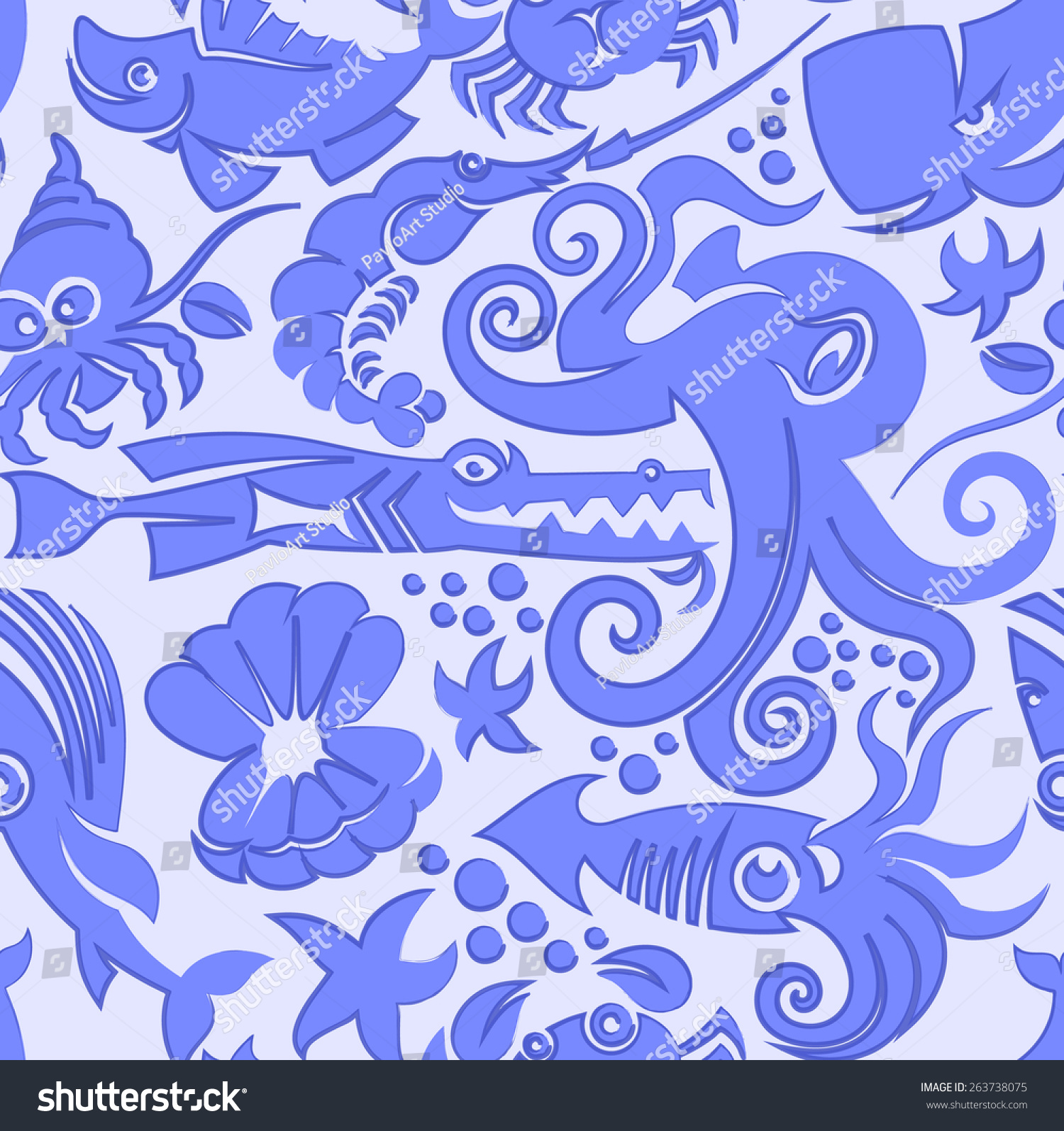 无缝的卡通可爱的海洋生物模式向量插图