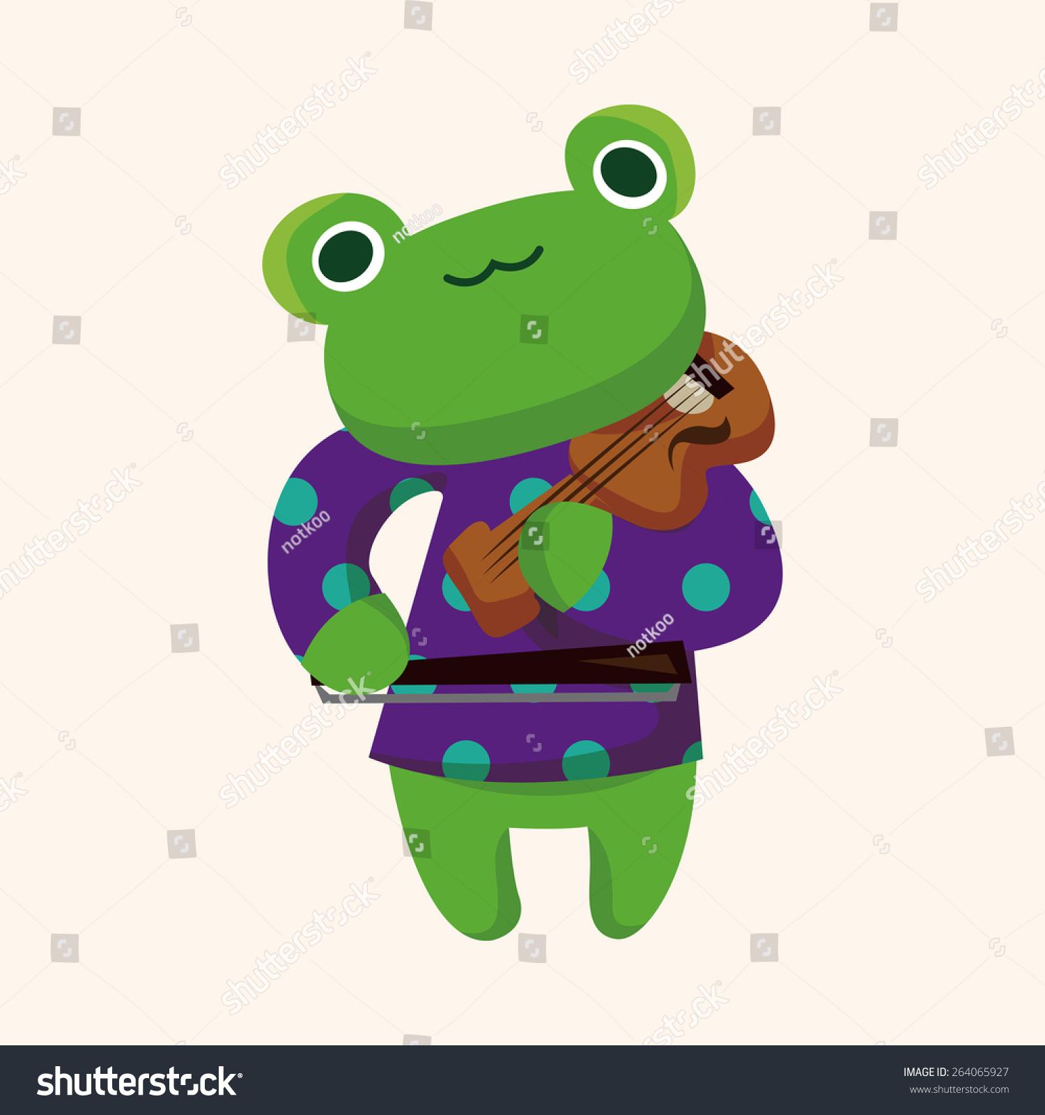 动物青蛙玩乐器卡通主题元素-动物/野生生物
