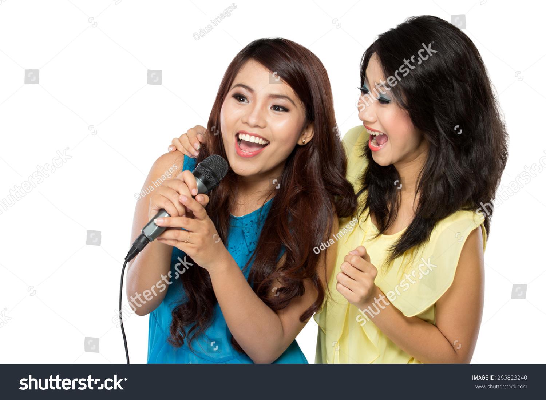 两个亚洲女孩的肖像一起唱歌-人物,其它-海洛创意()-.