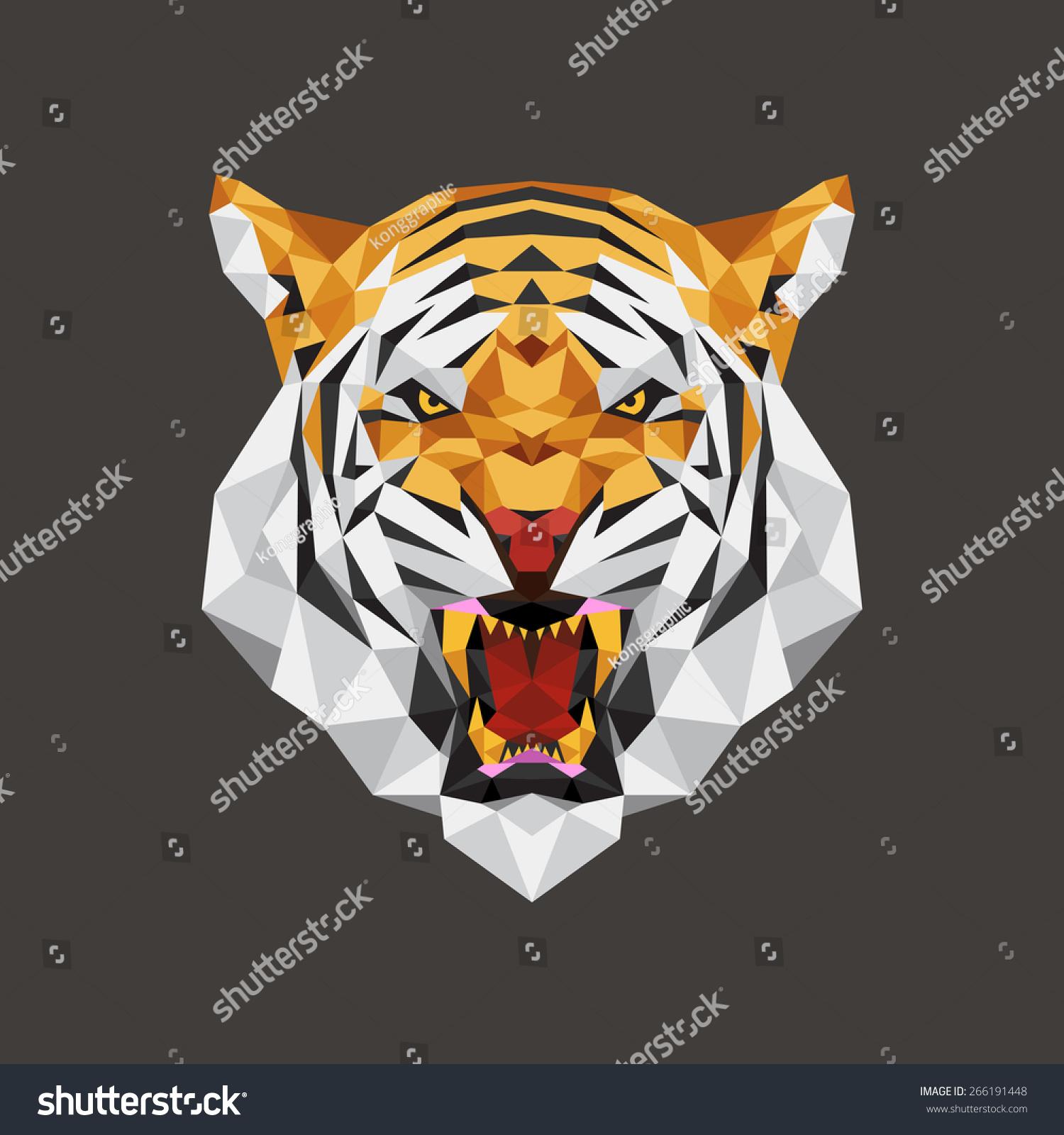 老虎头多边形几何,向量插图-动物/野生生物,艺术-海洛