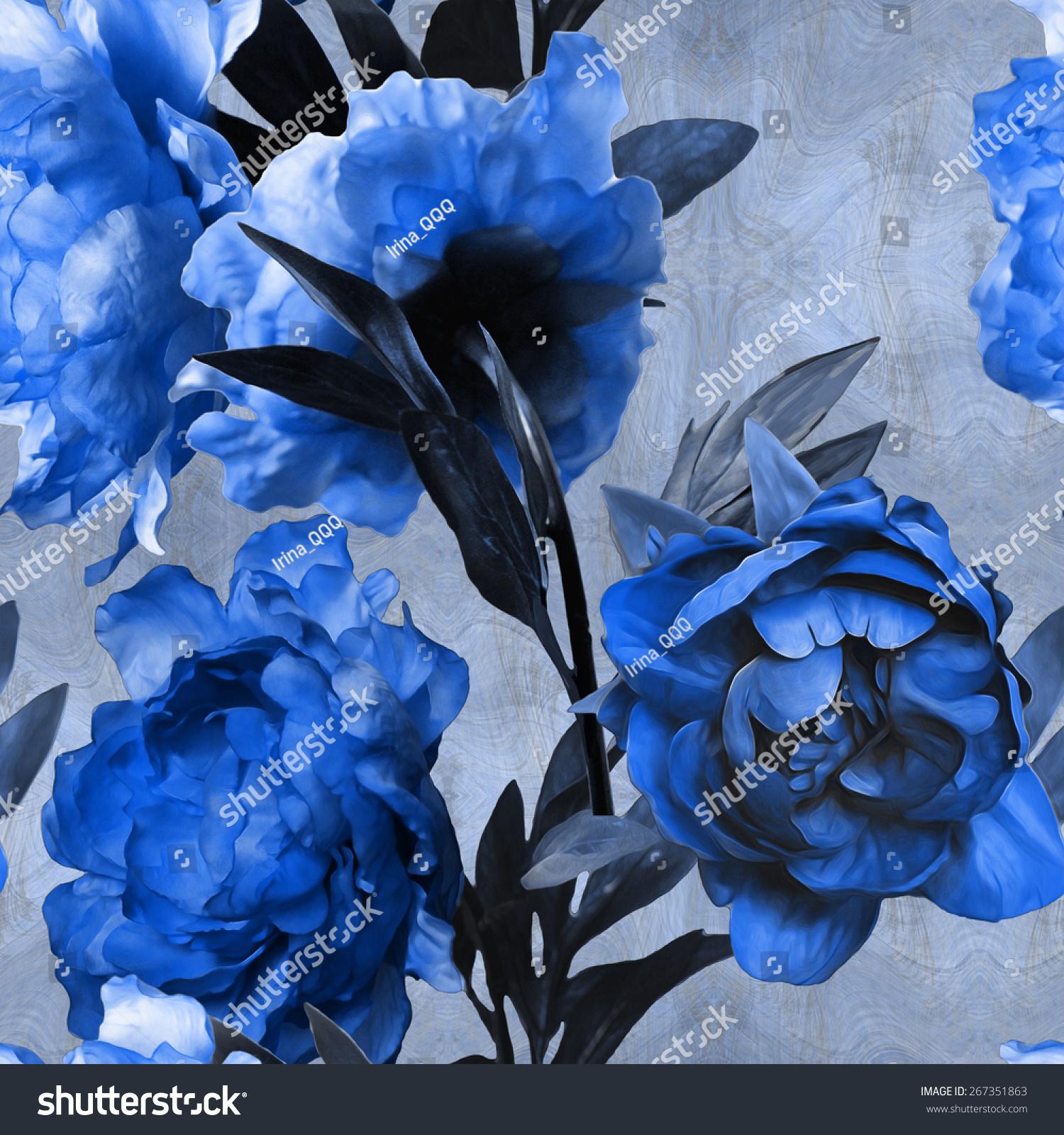 艺术的单色水彩花卉无缝模式与蓝色的牡丹在蓝色背景