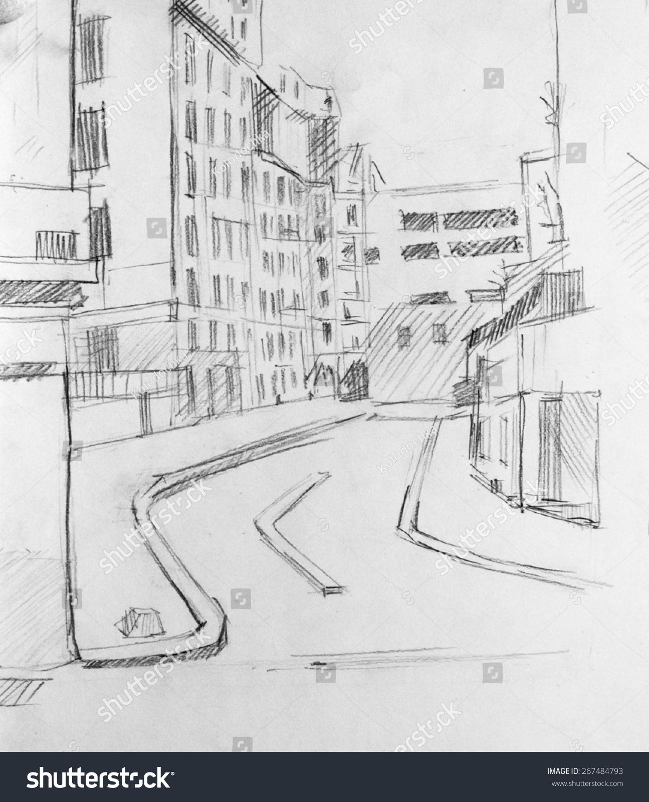 街道透视手绘画