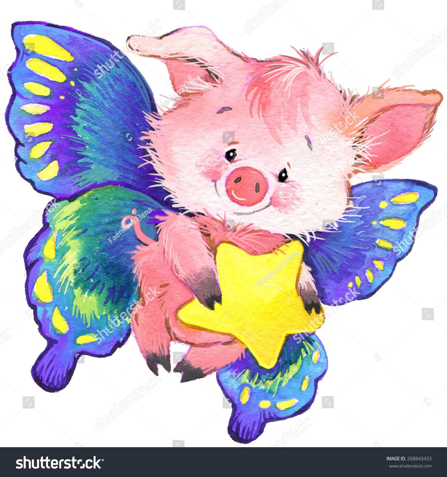 可爱的猪和明星.水彩插图-动物/野生生物,艺术-海洛()