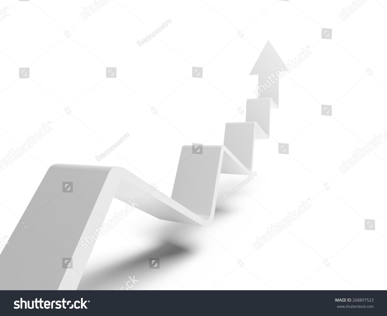破趋势线和箭头向上,3 d插图孤立在白色背景-符号