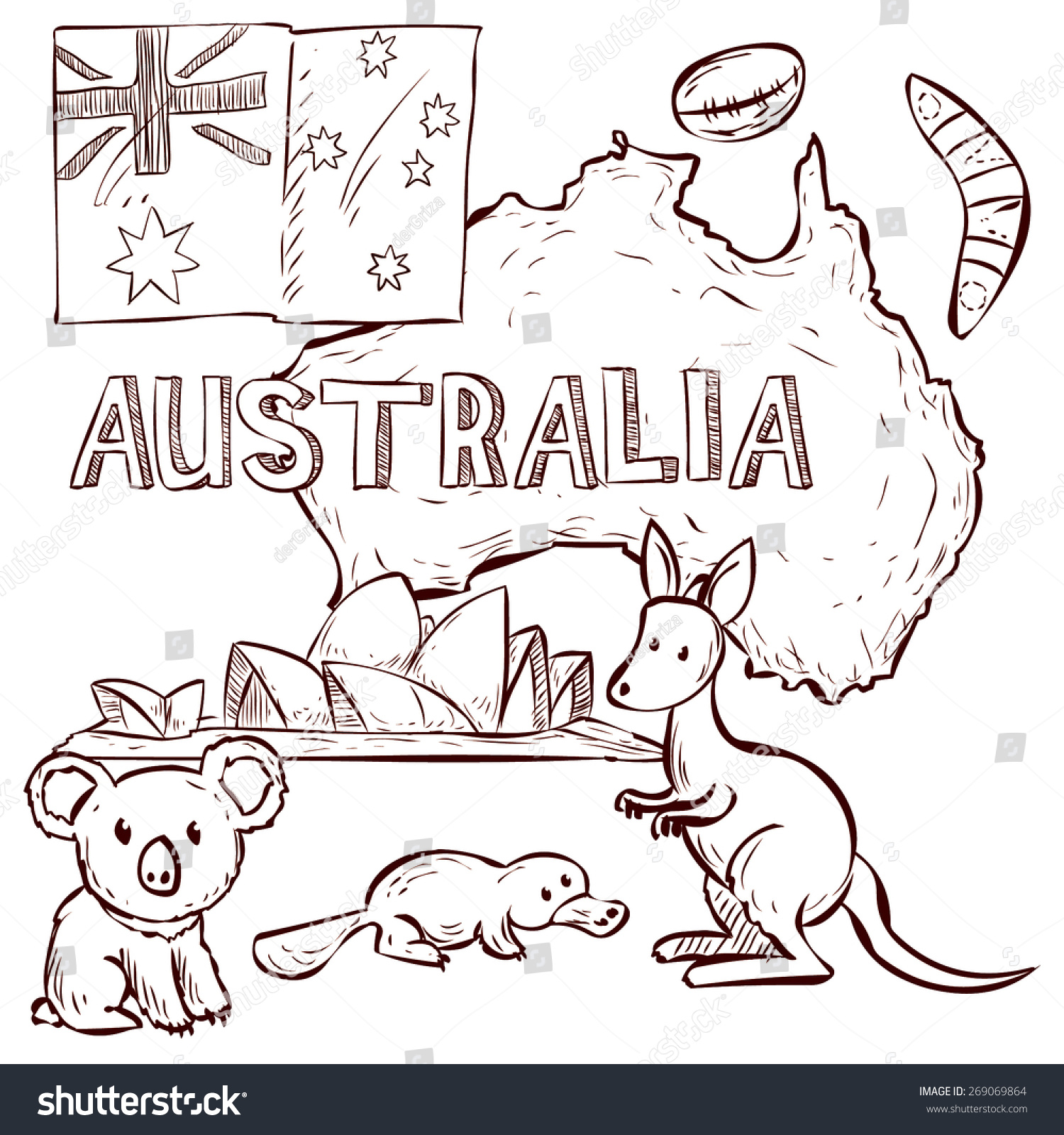 澳大利亚设计向量集.手绘的卡通插图.-动物/野生生物