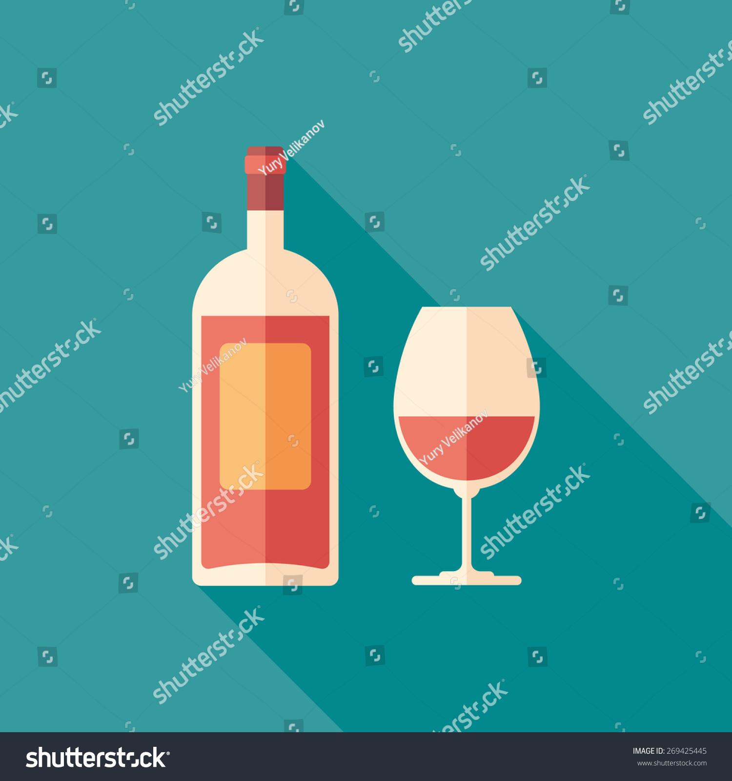 酒瓶和葡萄酒的玻璃平面正方形图标有长长的影子.-及