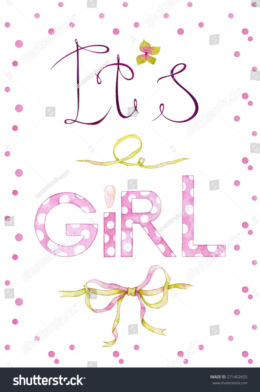 """水彩手绘""""女孩""""卡片,绣球花花和粉红丝带和橄榄粉色圆点颜色背景."""