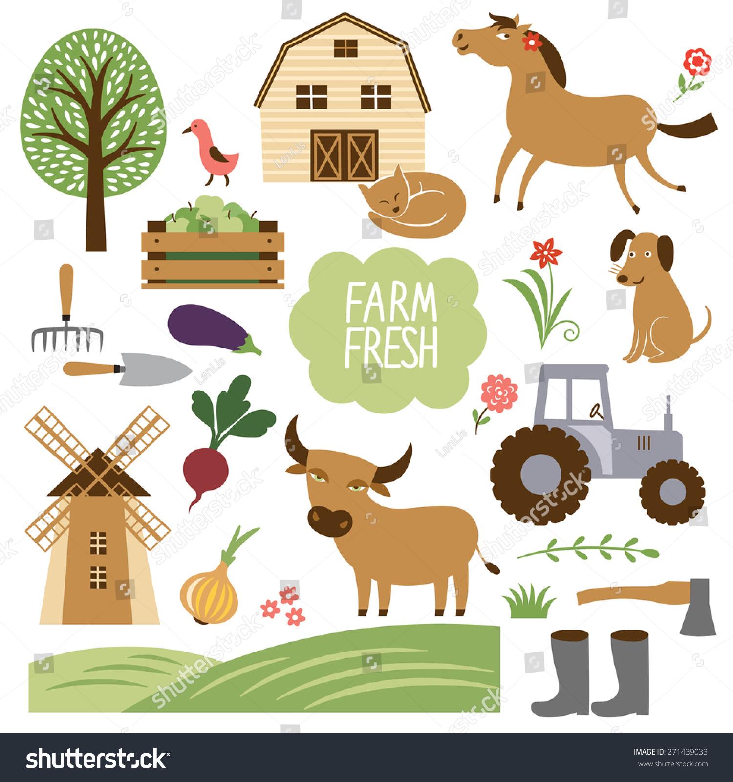 农场动物及相关物品的矢量图示集合-符号/标志