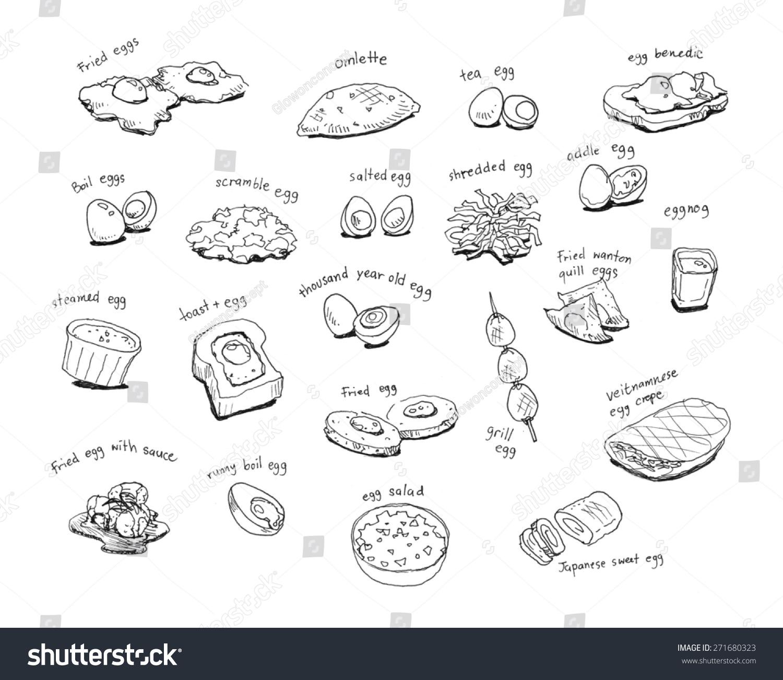 各种国际蛋菜单手绘插图-食品及饮料