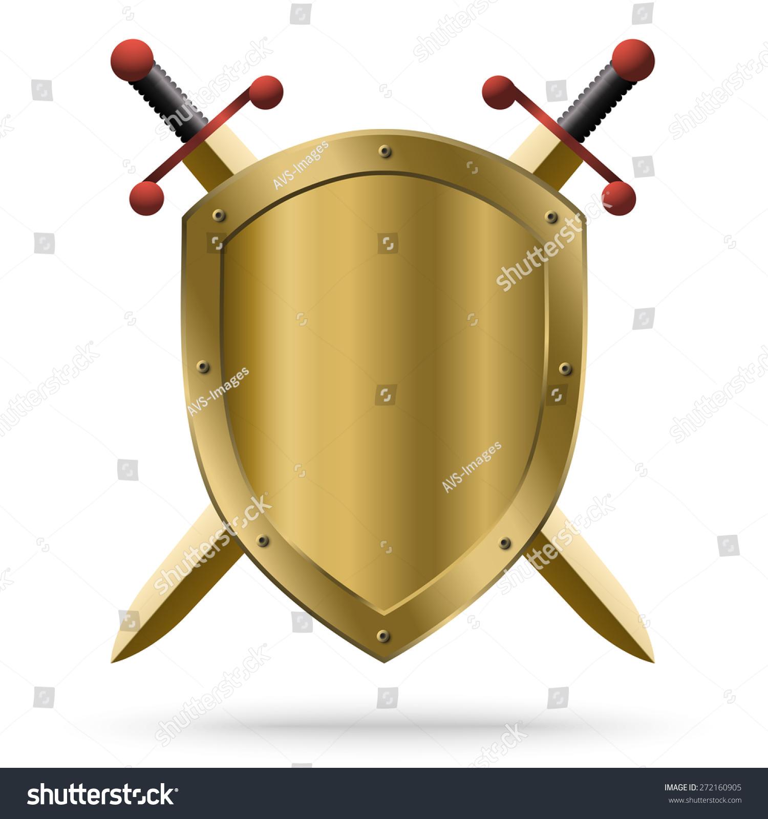 一把双刃剑金色剑和中世纪盾孤立在白色背景.保护的.图片