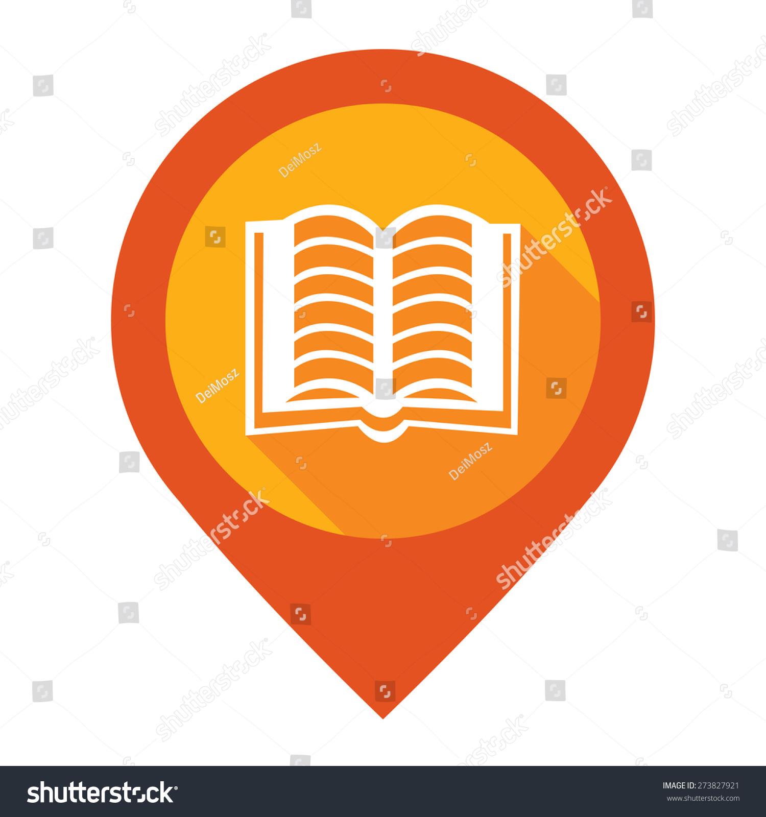 橙色的开放书,学校,图书馆或书店地图的指针图标在上