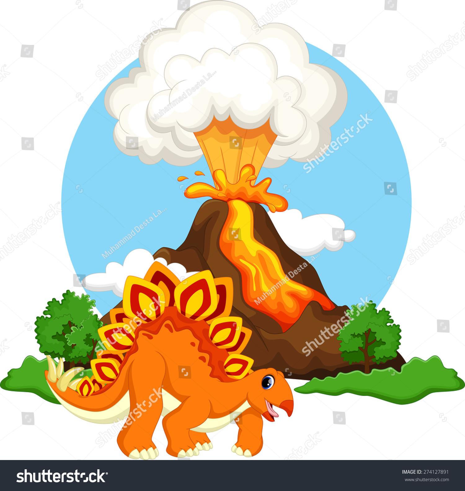 可爱的剑龙卡通恐龙与火山背景-动物/野生生物-海洛