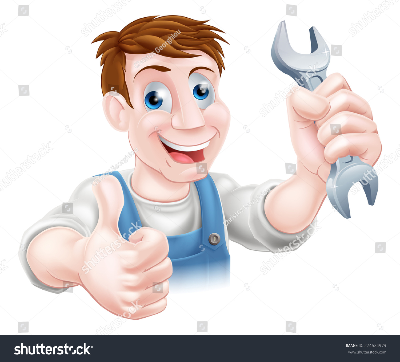水管工或机修工拿着扳手和竖起大拇指
