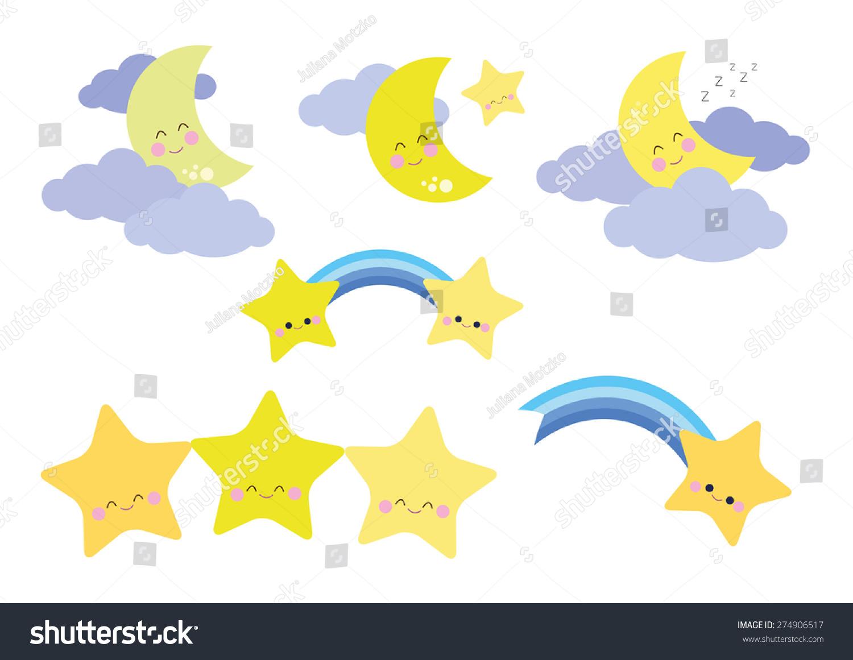 可爱的月亮和星星向量-自然,其它-海洛创意(hellorf)