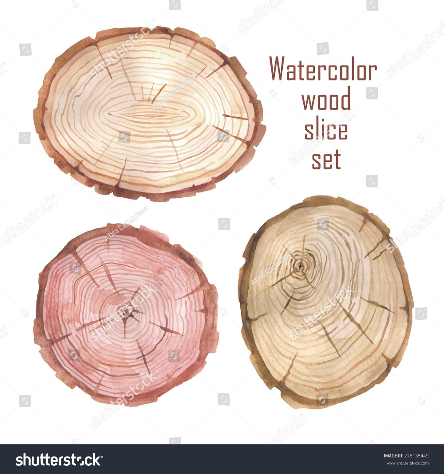 水彩木头片组-背景/素材