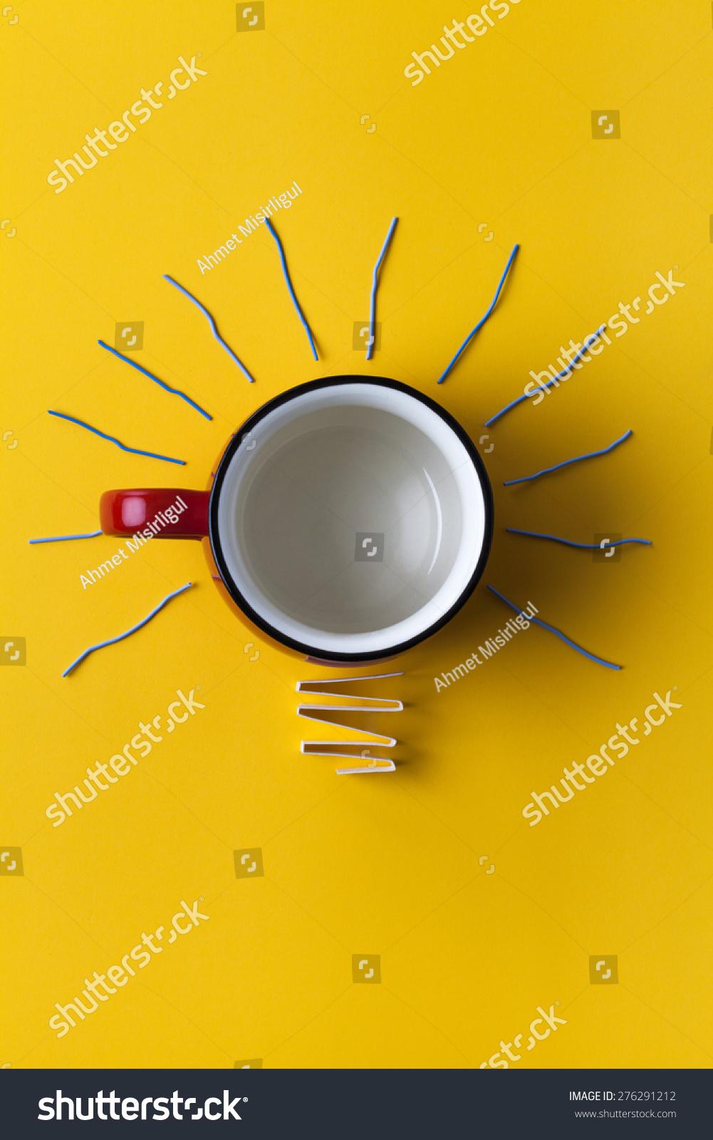 灵感咖啡杯灯泡概念隐喻的好主意