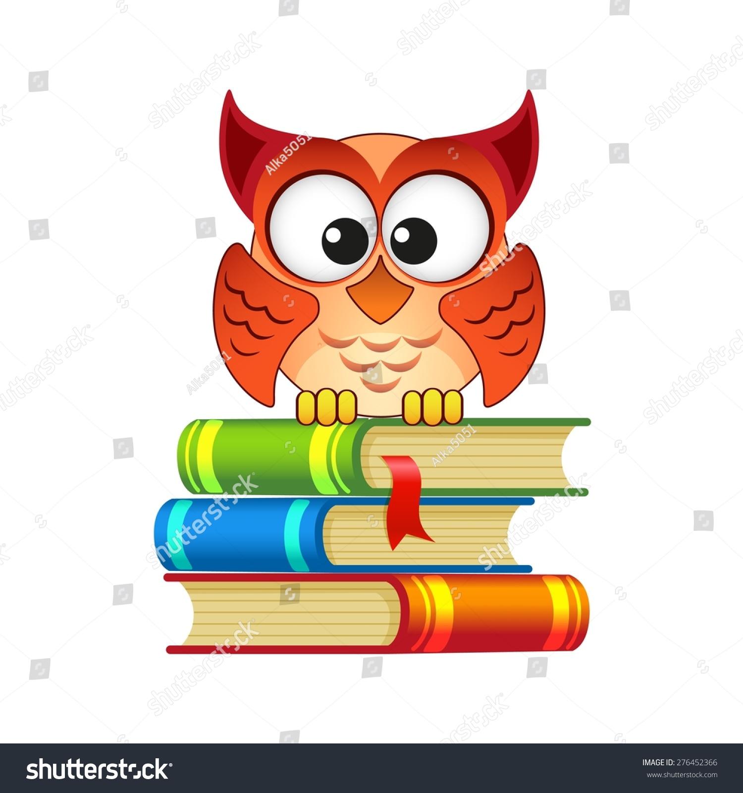 猫头鹰坐在一堆书-动物/野生生物,教育-海洛创意()-合