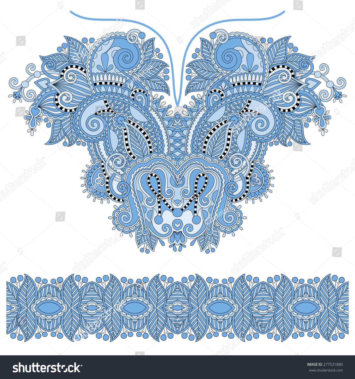 蓝色领口华丽的花卉佩斯利刺绣时尚设计,乌克兰民族风格.