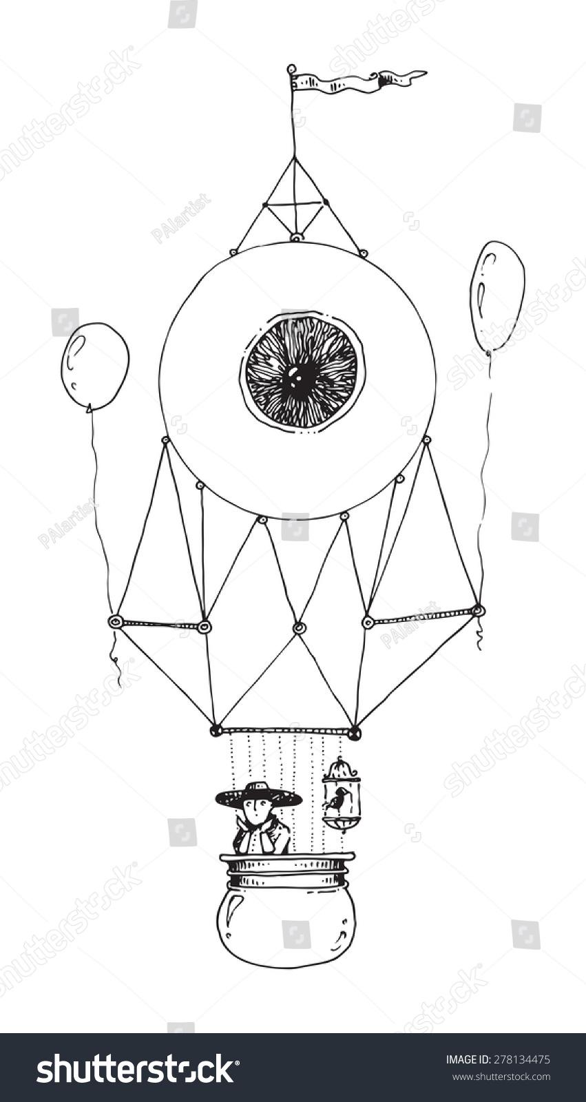 插图飞行器眼睛热气球的人发动机舱的鸟笼-其它