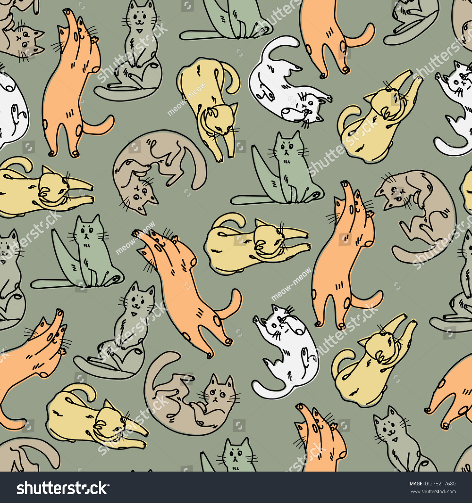 有趣猫的无缝模式-动物/野生生物