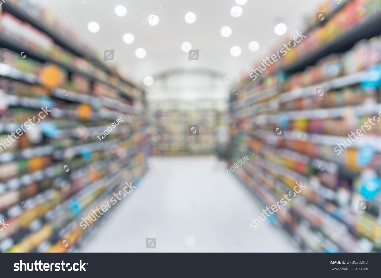 超市模糊背景,散景,杂项产品架子上-背景/素材,抽象
