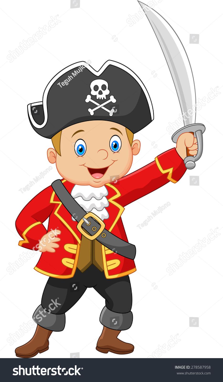 卡通海盗船长拿着一把剑-物体,人物-海洛创意(hellorf