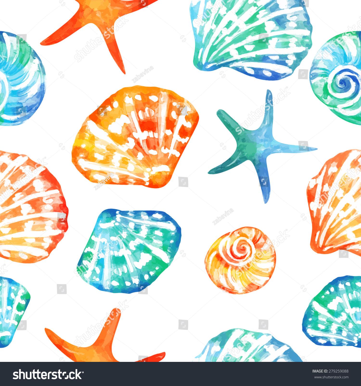 无缝的矢量模式与海洋贝壳.向量的背景.可用于织物
