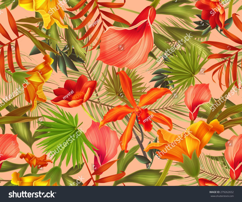 无缝的热带花卉,植物和树叶的图案背景,复古的植物的.