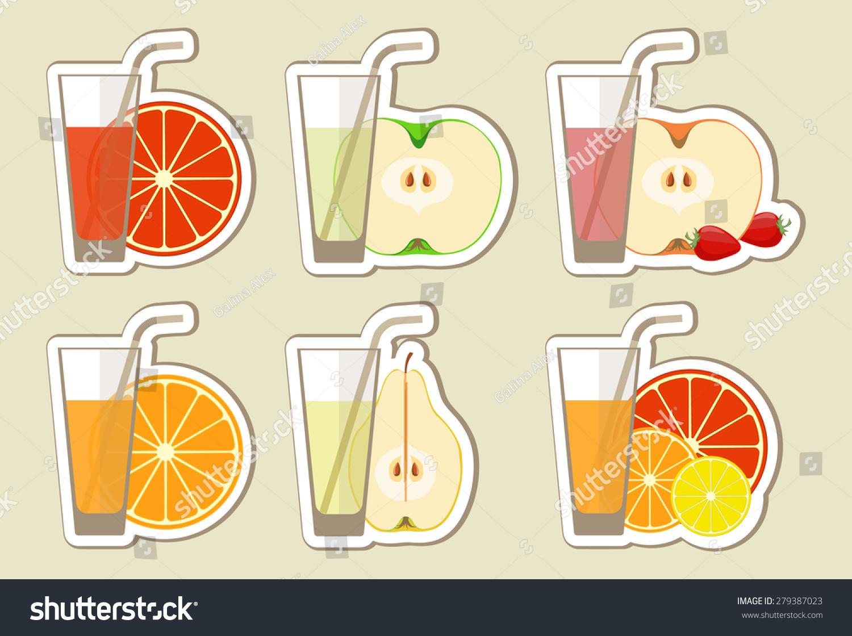果汁和鸡尾酒.菜单元素与充满活力的新鲜喝咖啡馆或餐馆在平坦的风格.