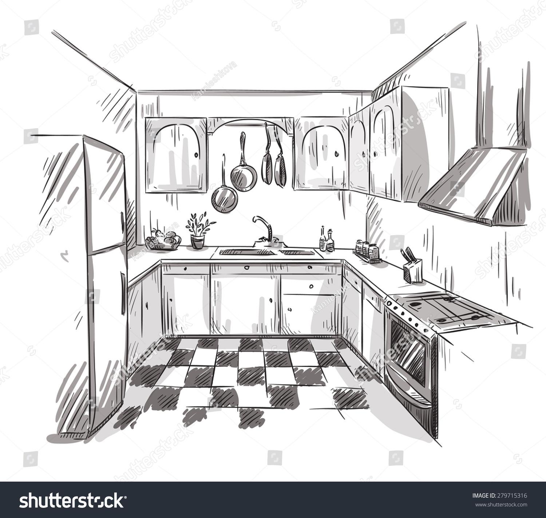 饭店厨房手绘平面设计图