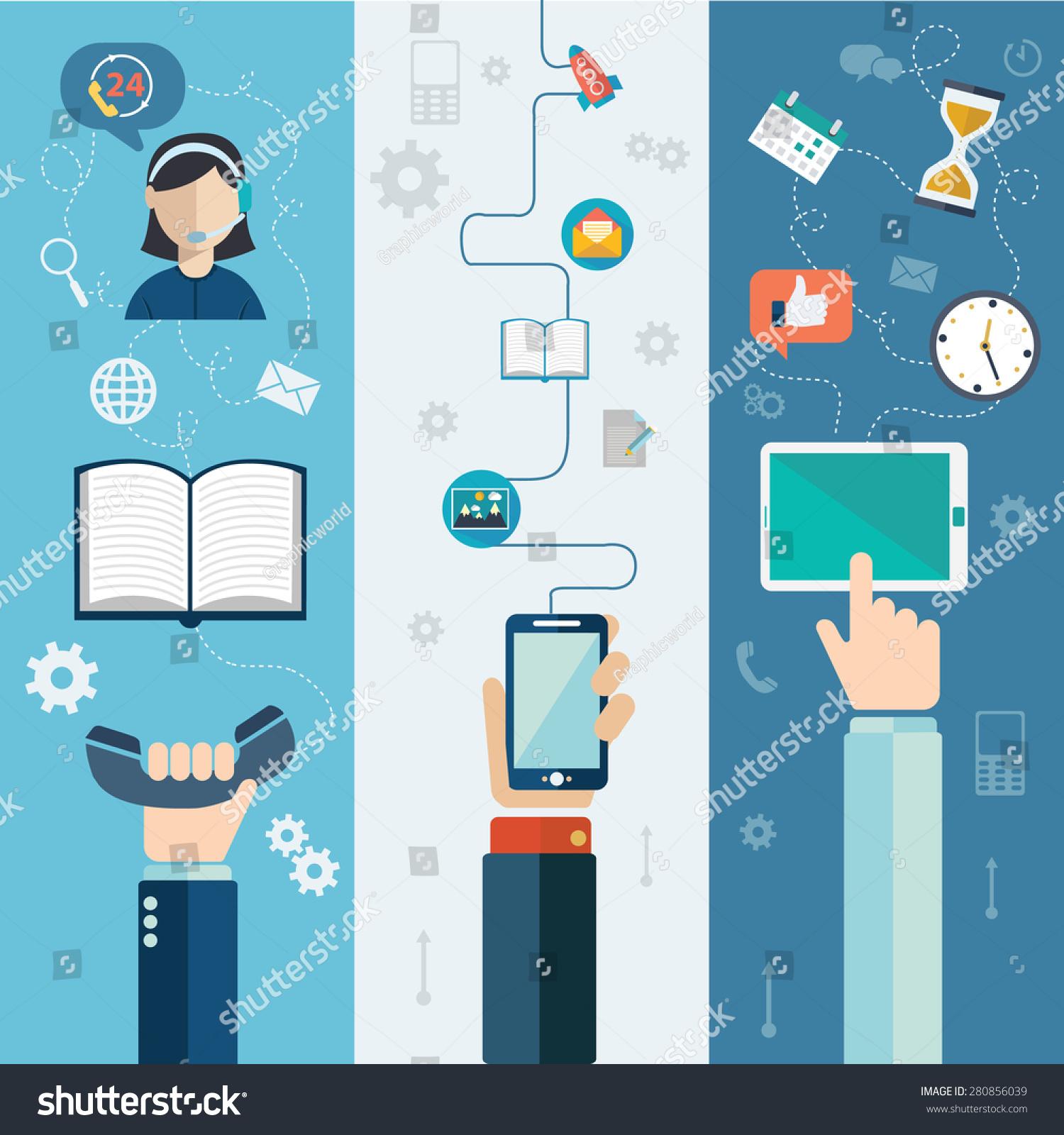 呼叫中心技术支持和服务平横幅孤立的矢量图-商业