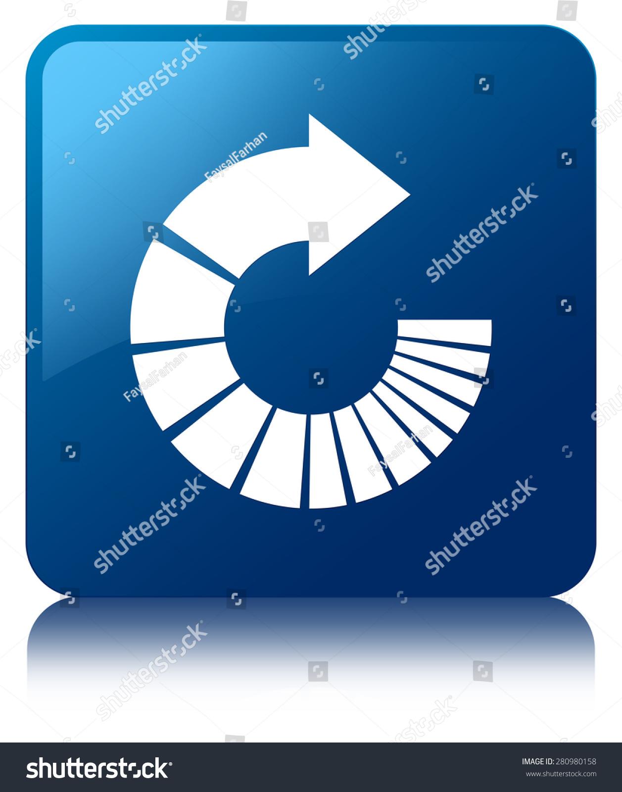 旋转箭头图标蓝色方块按钮-符号/标志