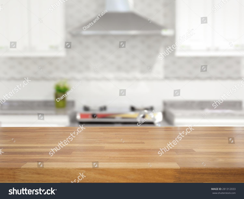 空的木头桌子和厨房背景模糊