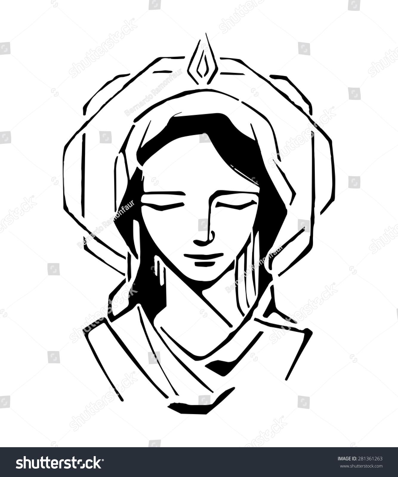 手绘矢量插图或画的圣母玛利亚在五旬节圣经-人物,-()