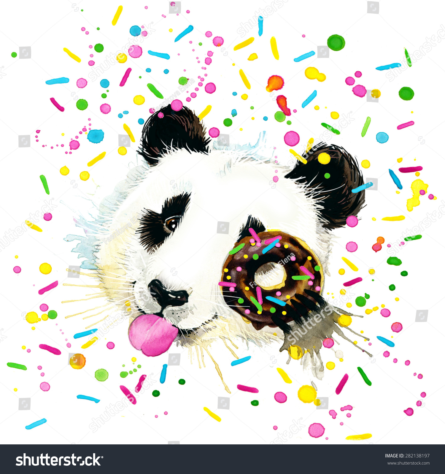 有趣的熊猫用水彩飞溅的背景-动物/野生生物,艺术-()