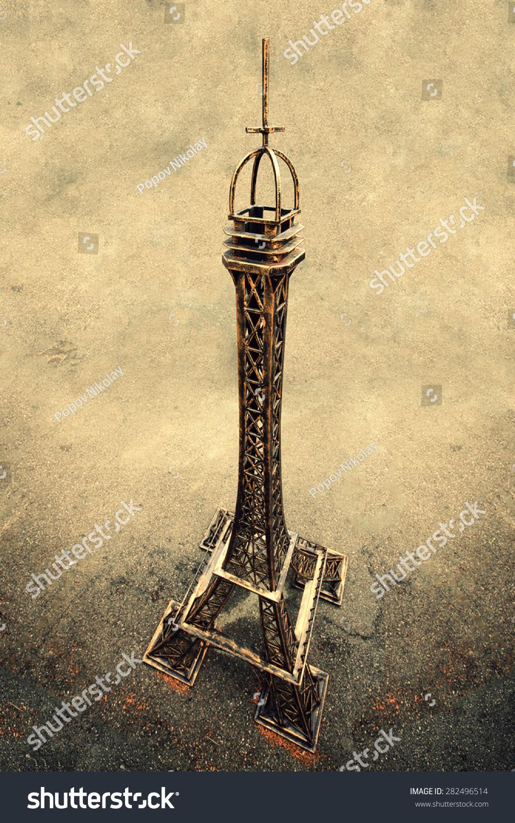 埃菲尔铁塔在一个棕色的背景上
